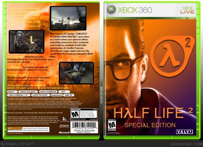 Half Life 2: Special Edition Xbox 360 Box Art Cover by hidden_