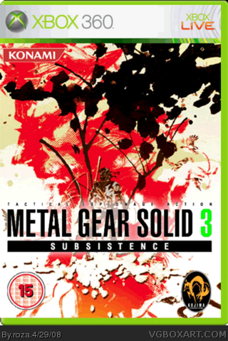 metal gear solid 3 subsistence xbox 360 box art cover by roza
