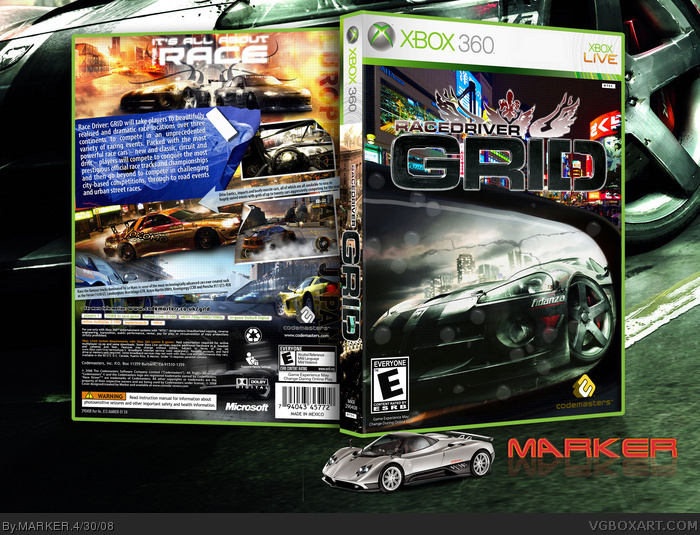 race driver grid xbox 360 box art cover by marker