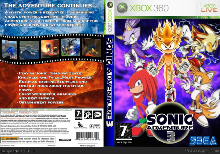 Sonic Adventure 3 Xbox 360 Box Art Cover by Speedy G