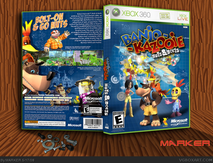 Banjo-Kazooie: Nuts & Bolts Xbox 360 Box Art Cover by MARKER
