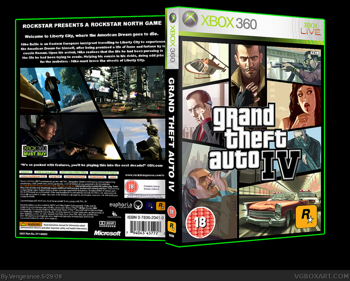 Grand theft auto iv xbox 360 box art cover by vengeance for 4 box auto