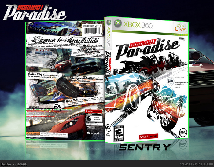 burnout paradise xbox 360 box art cover by sentry. Black Bedroom Furniture Sets. Home Design Ideas