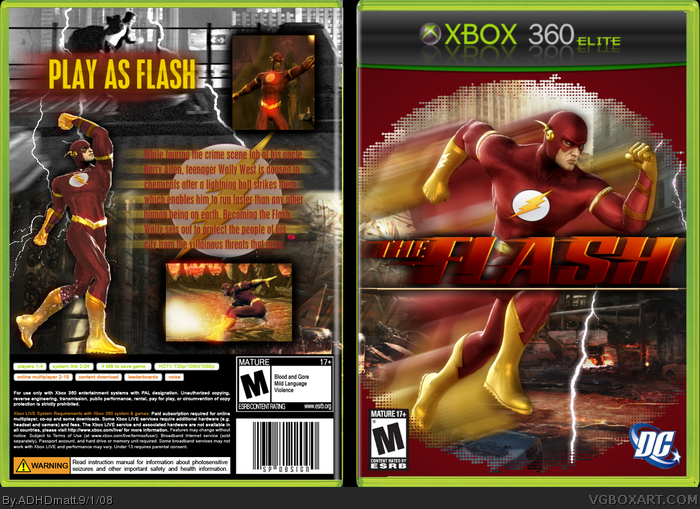the flash xbox 360 box art cover by adhdmatt. Black Bedroom Furniture Sets. Home Design Ideas