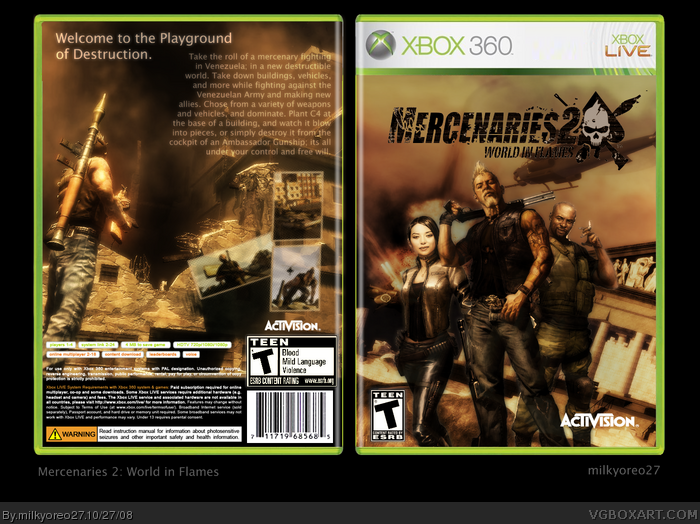 Mercenaries 2 world in flames xbox 360 box art cover by milkyoreo27 mercenaries 2 world in flames box art cover altavistaventures