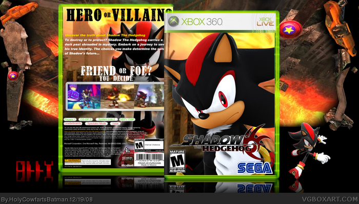 Shadow The Hedgehog Xbox 360 Box Art Cover By