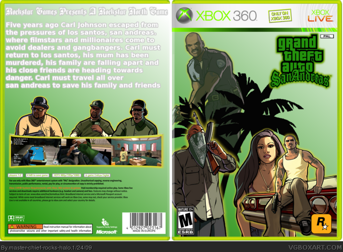 Xbox 360 grand theft auto san andreas box cover
