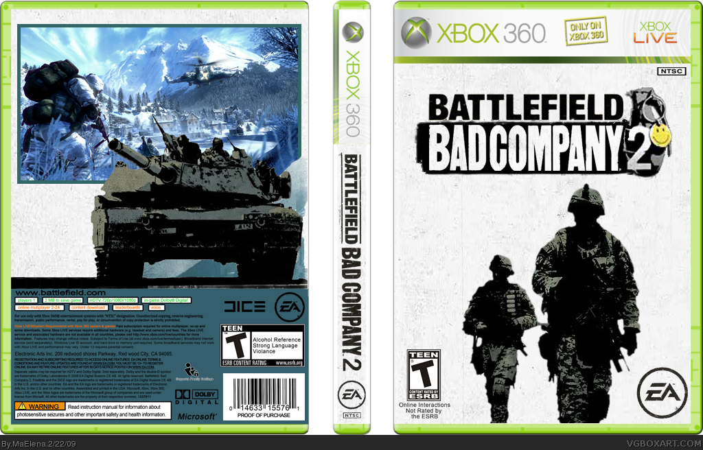 battlefield  bad company 2 xbox 360 box art cover by maelena