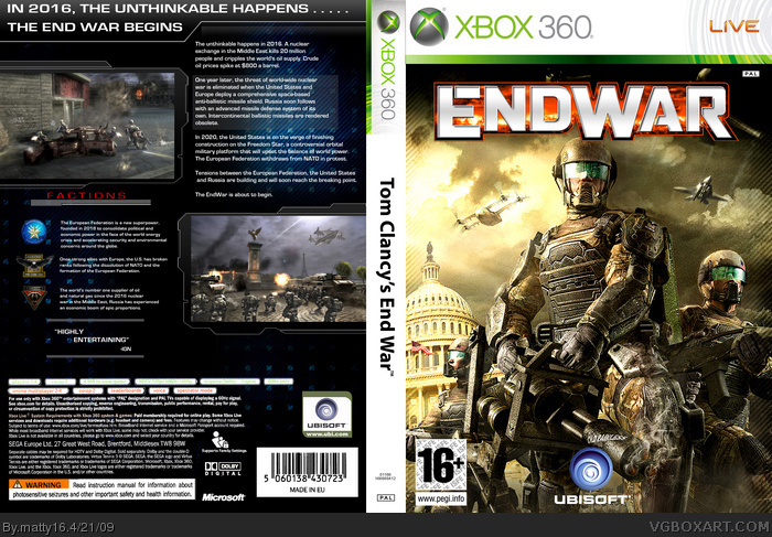 Book Cover Pictures Xbox : Tom clancy s endwar xbox box art cover by matty