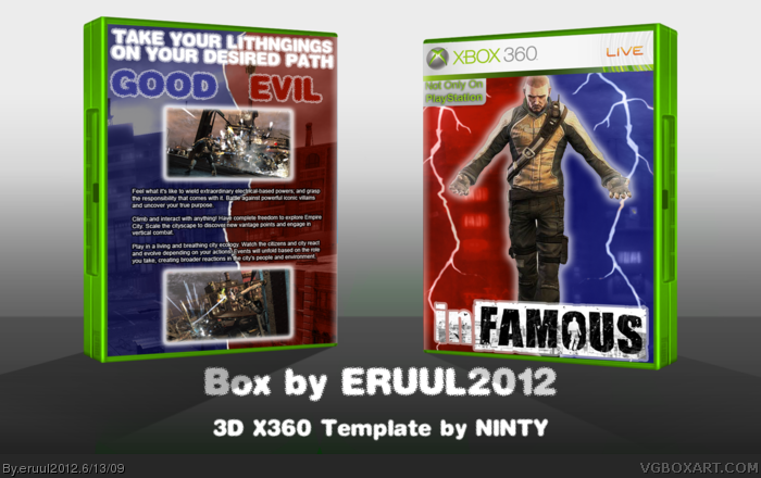 infamous xbox 360 box art cover by eruul2012