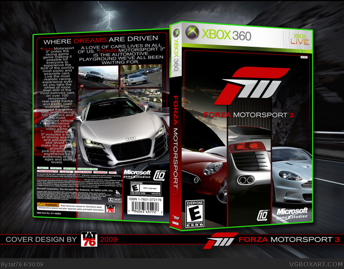 Forza Motorsport 3 Xbox 360 Box Art Cover By Tat76