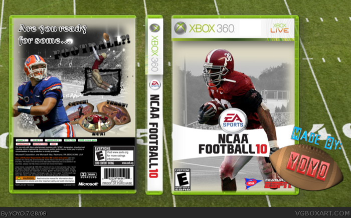 NCAA Football 10 box art cover