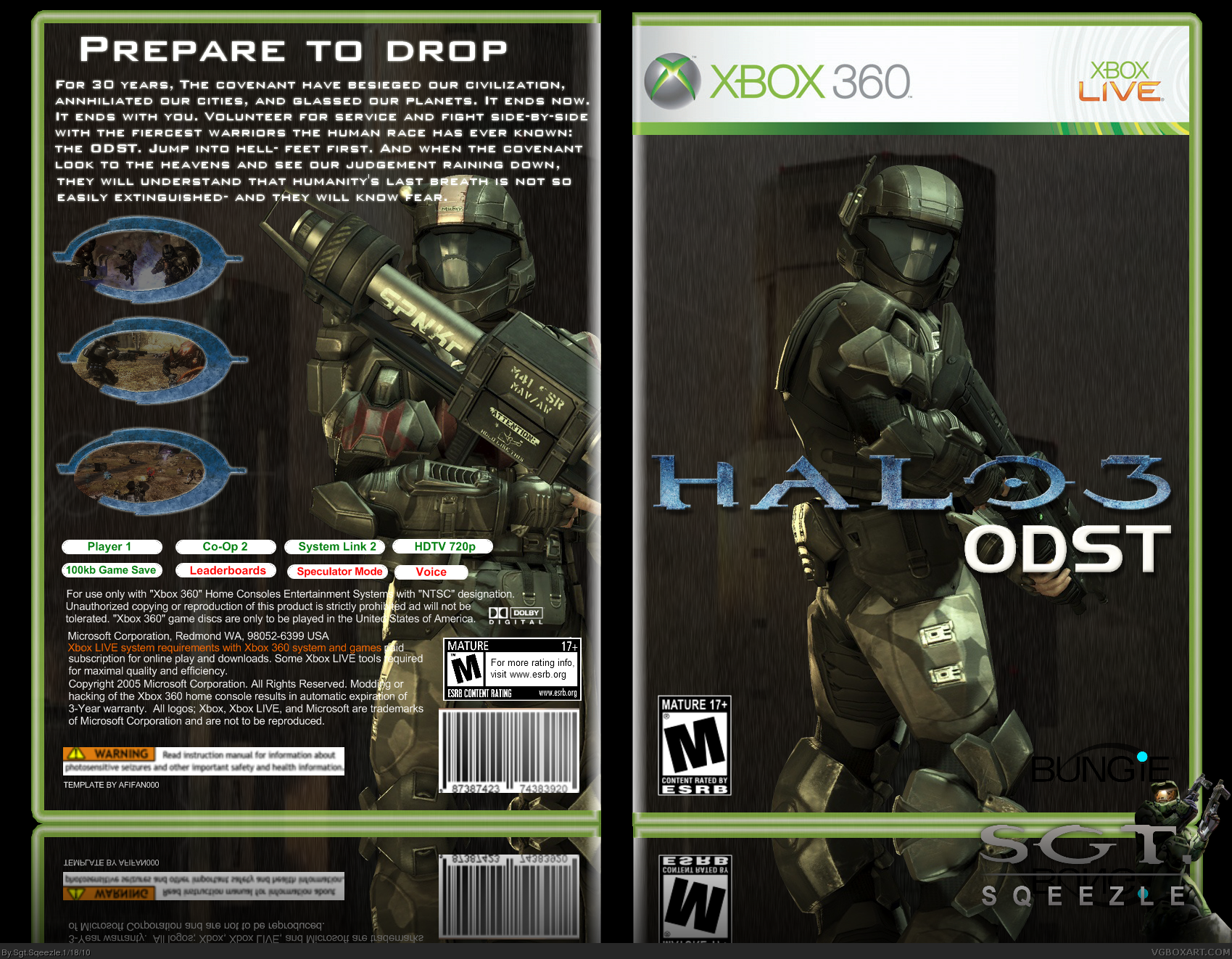 Halo 3 Odst Xbox 360 Box Art Cover By Sgt Sqeezle