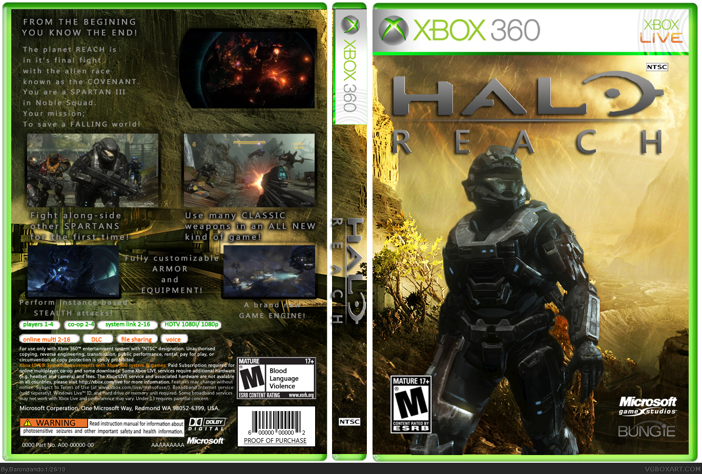 halo reach xbox 360 box art cover by barondando rh vgboxart com Halo Cortana Halo Cortana