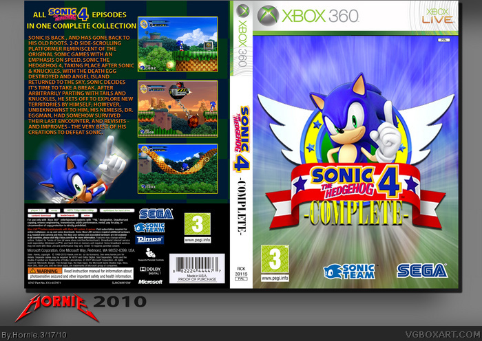 Sonic The Hedgehog 4 Xbox 360 Box Art Cover By Hornie