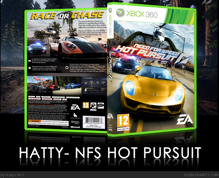 need for speed hot pursuit 2010 xbox 360 box art cover