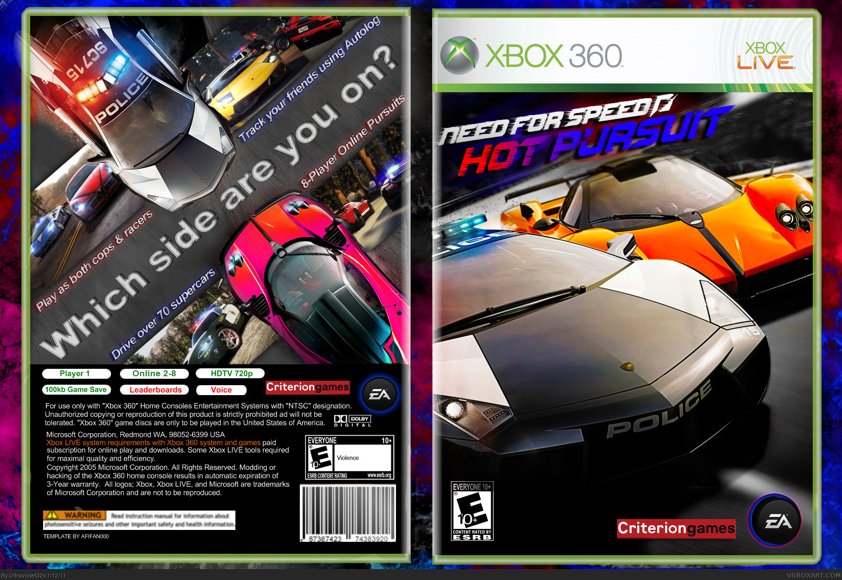 Need For Speed Hot Pursuit 2010 Xbox 360 Box Art Cover By