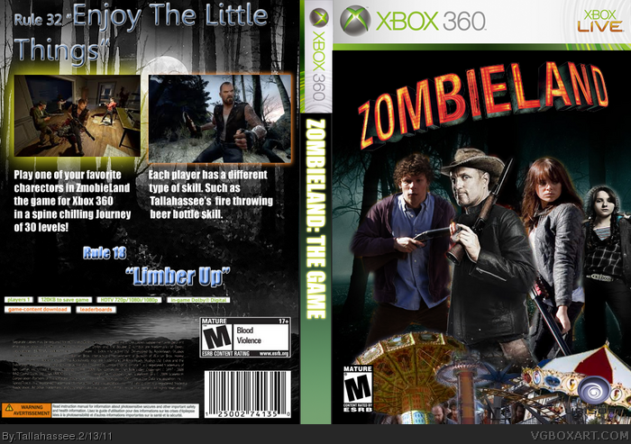 Zombieland: The Game Xbox 360 Box Art Cover by Tallahassee