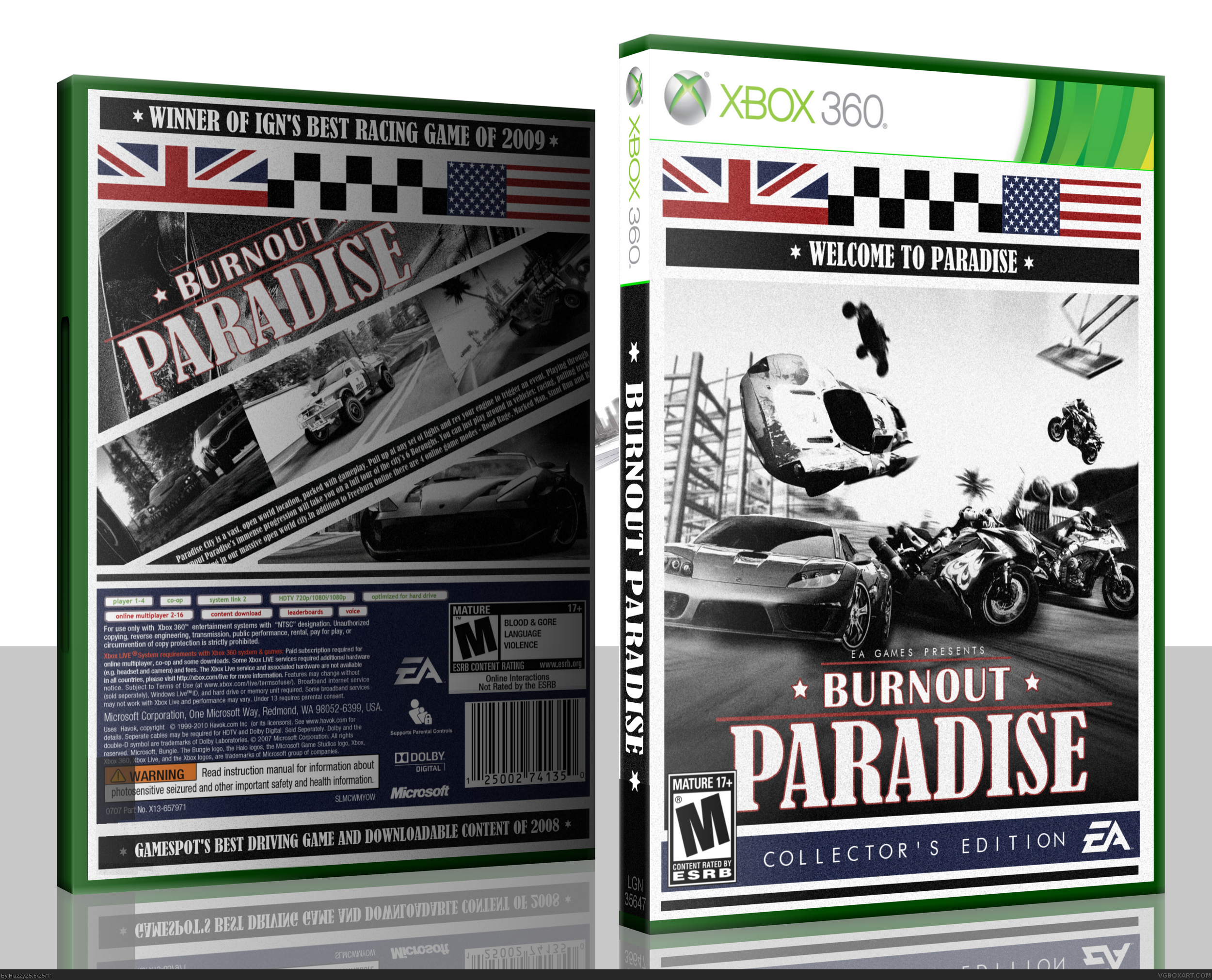 burnout paradise xbox 360 box art cover by hazzy25. Black Bedroom Furniture Sets. Home Design Ideas