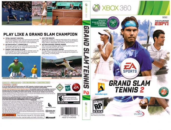 Grand Slam Tennis 2 box art cover