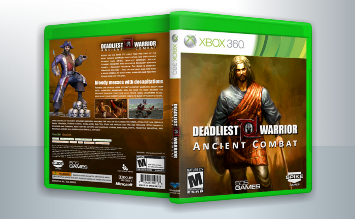 deadliest warrior ancient combat xbox 360 box art cover by