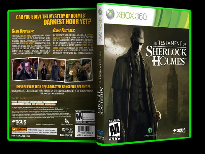 Xbox 360 » The Testament of Sherlock Holmes Box Cover