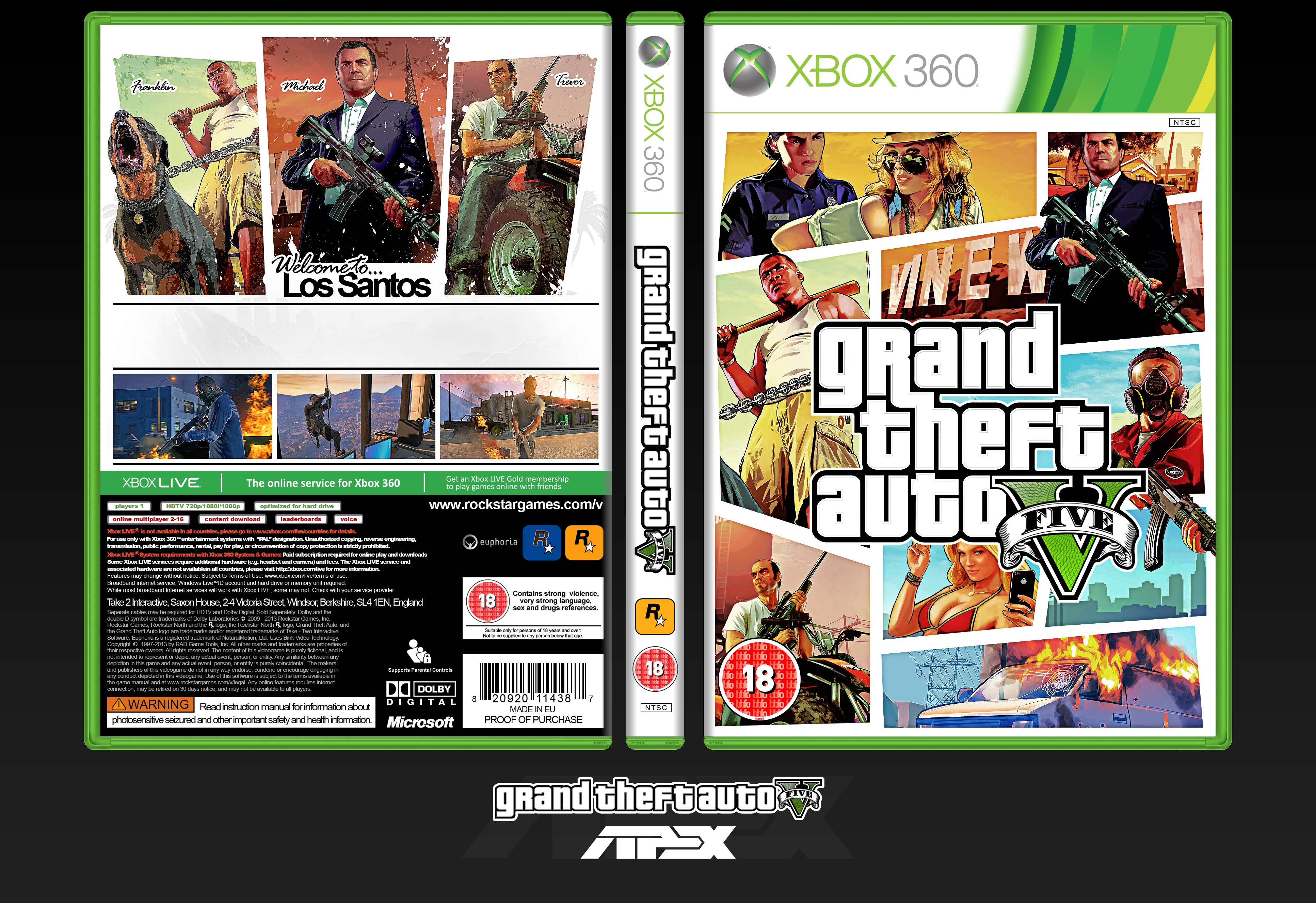 Viewing full size grand theft auto v box cover by xapexpred back