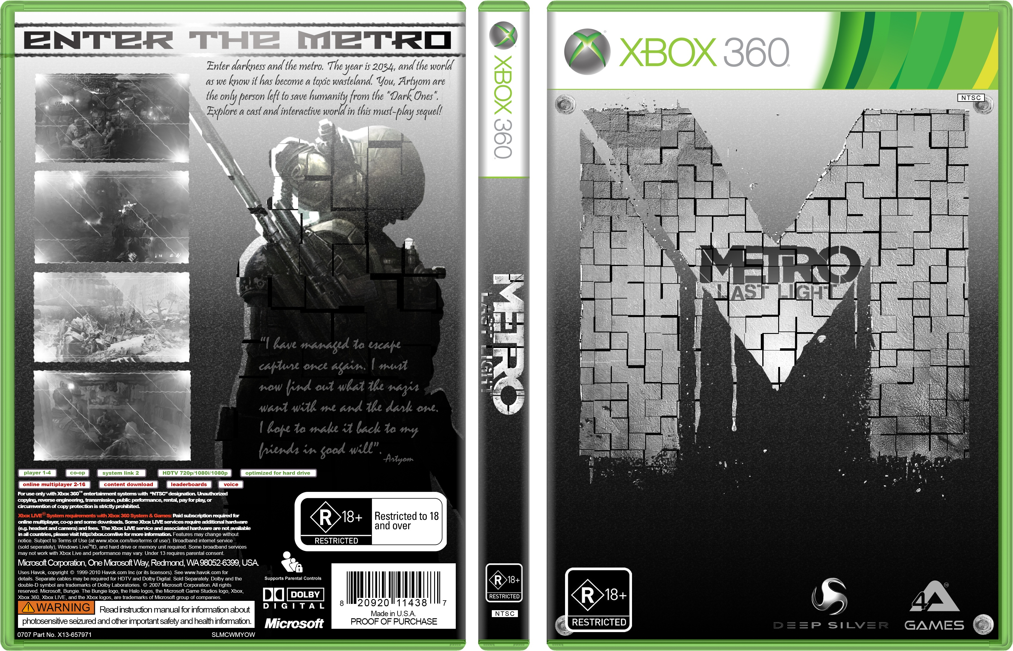 Book Cover Pictures Xbox : Metro last light xbox box art cover by slicer