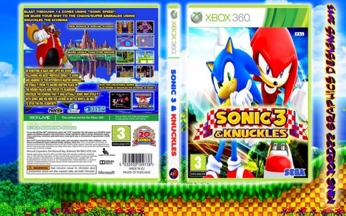 sonic 3 knuckles xbox 360 box art cover by kingjordzzgraphics85. Black Bedroom Furniture Sets. Home Design Ideas