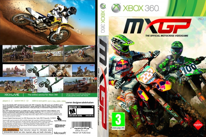 mxgp the official motocross videogame xbox 360 box art. Black Bedroom Furniture Sets. Home Design Ideas