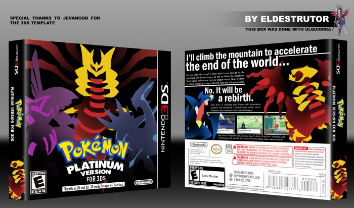 pokemon platinum version for 3ds nintendo 3ds box art cover by eldestrutor. Black Bedroom Furniture Sets. Home Design Ideas