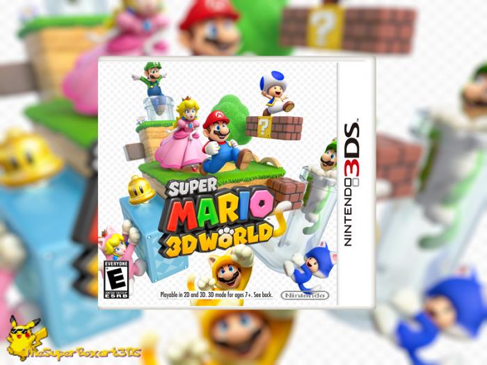 Super Mario 3D World Nintendo 3DS Box Art Cover By