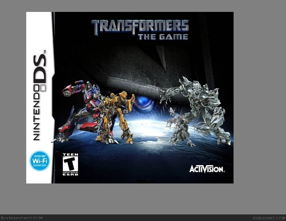 Nintendo ds transformers the game box cover