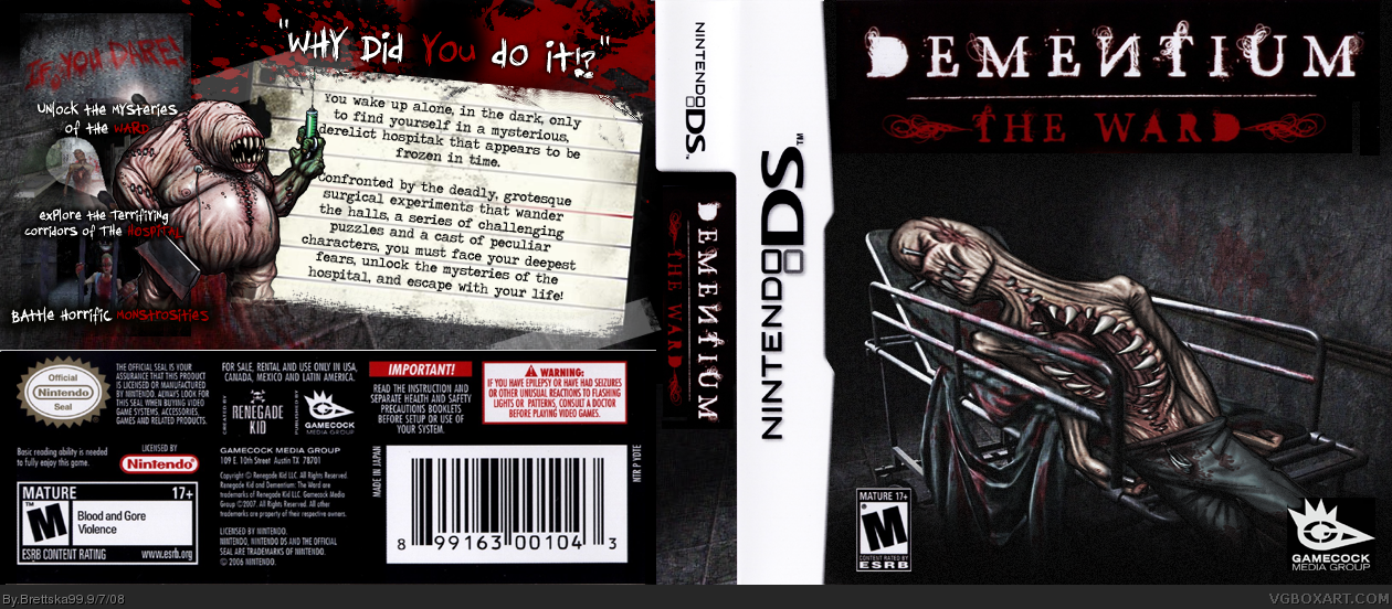 Dementium The Ward Nintendo Ds Box Art Cover By Brettska99
