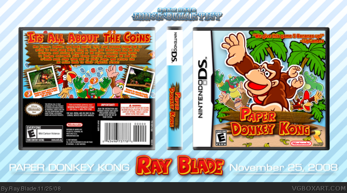 paper donkey kong nintendo ds box art cover by ray blade
