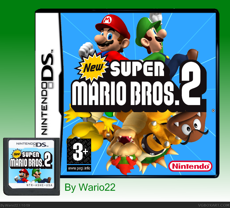 Viewing Full Size New Super Mario Bros 2 Box Cover
