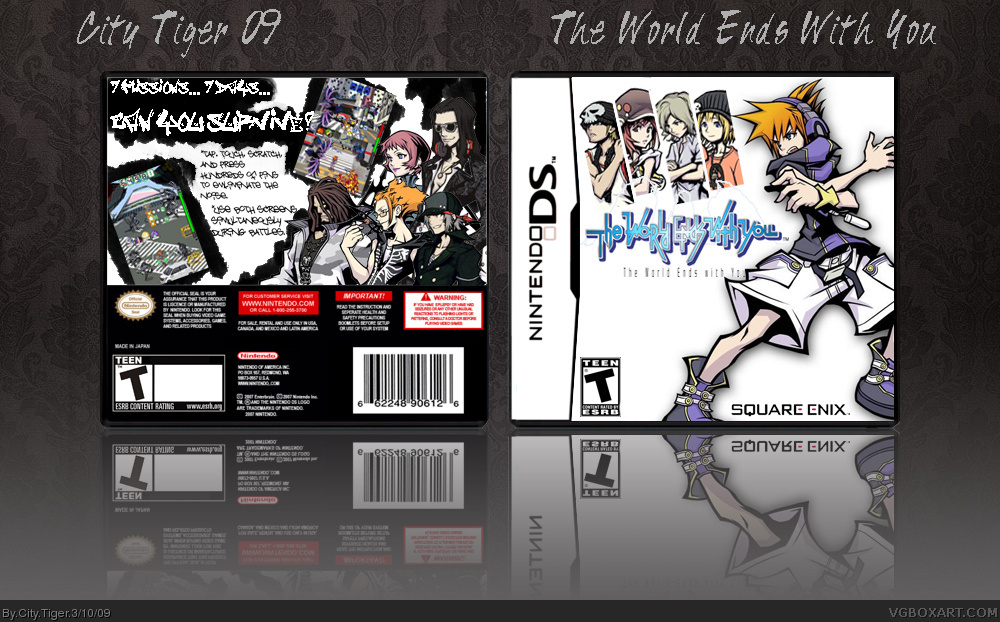 the world ends with you nintendo ds box art cover by city