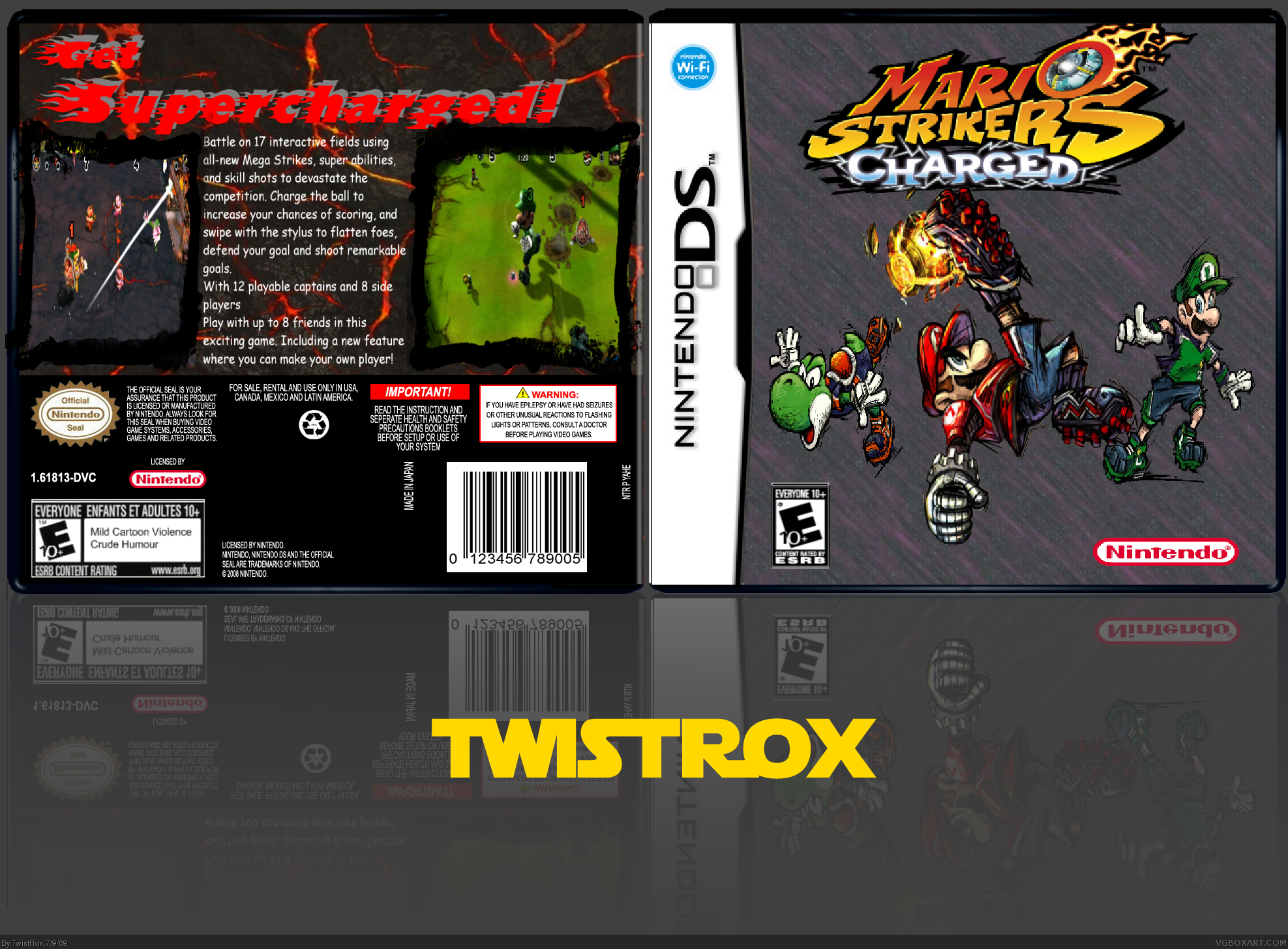 Mario strikers charged nintendo ds box art cover by twistrox for Mario strikers coloring pages