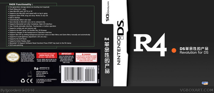 r4 revolution for ds ndsl nds nintendo ds box art cover by