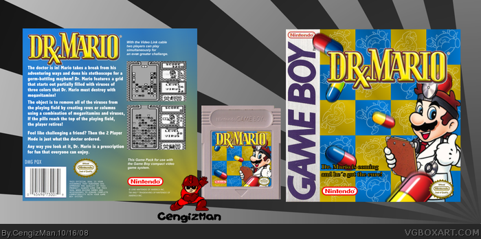 dr mario game boy box art cover by cengizman