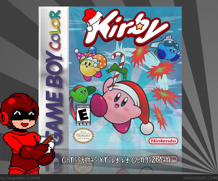 christmas kirby game boy box art cover by cengizman