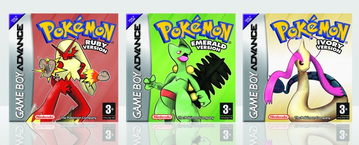 Pokemon Ruby, Emerald and Ivory box art cover