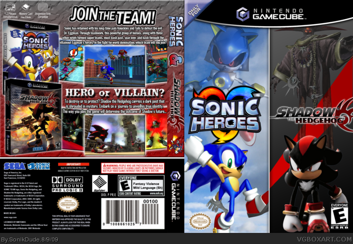 GameCube » Sonic Heroes & Shadow the Hedgehog Box Cover