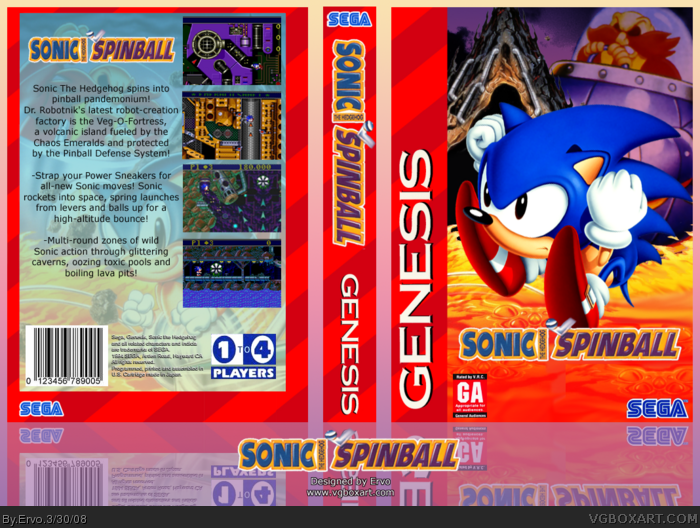 Sonic Spinball box art cover