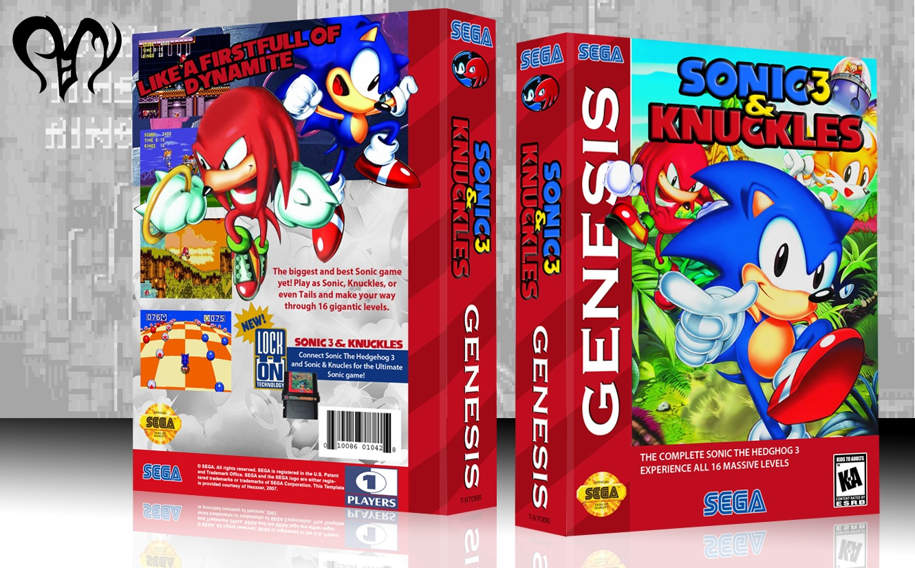 sonic the hedgehog 3 knuckles genesis box art cover by pan. Black Bedroom Furniture Sets. Home Design Ideas