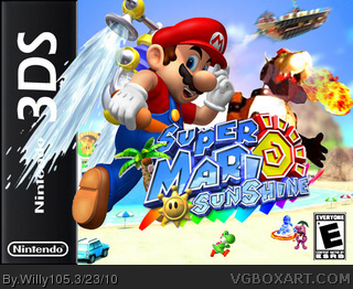 Super Mario Sunshine 3DS box cover