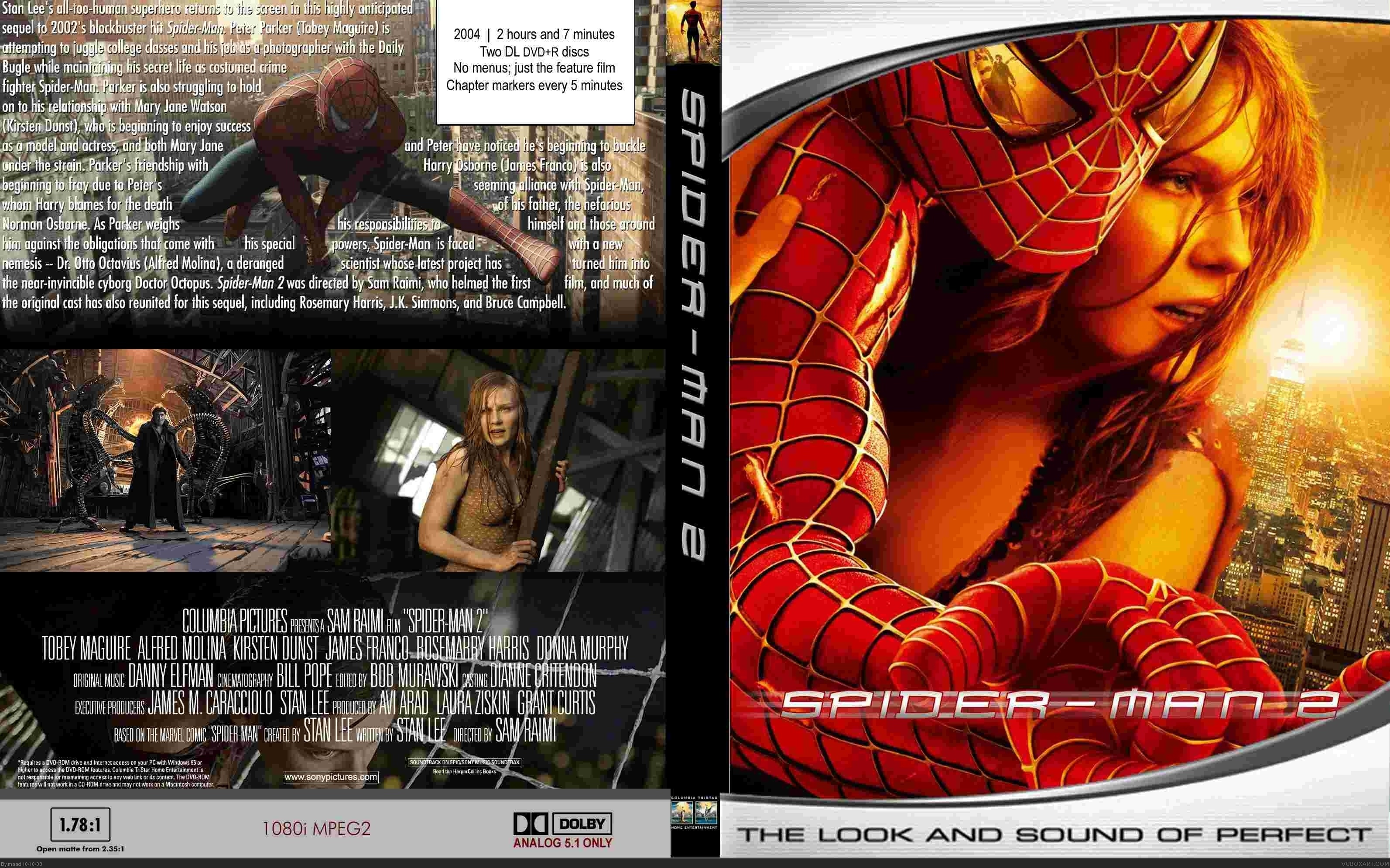 Viewing full size spider man 2 box cover by maad back