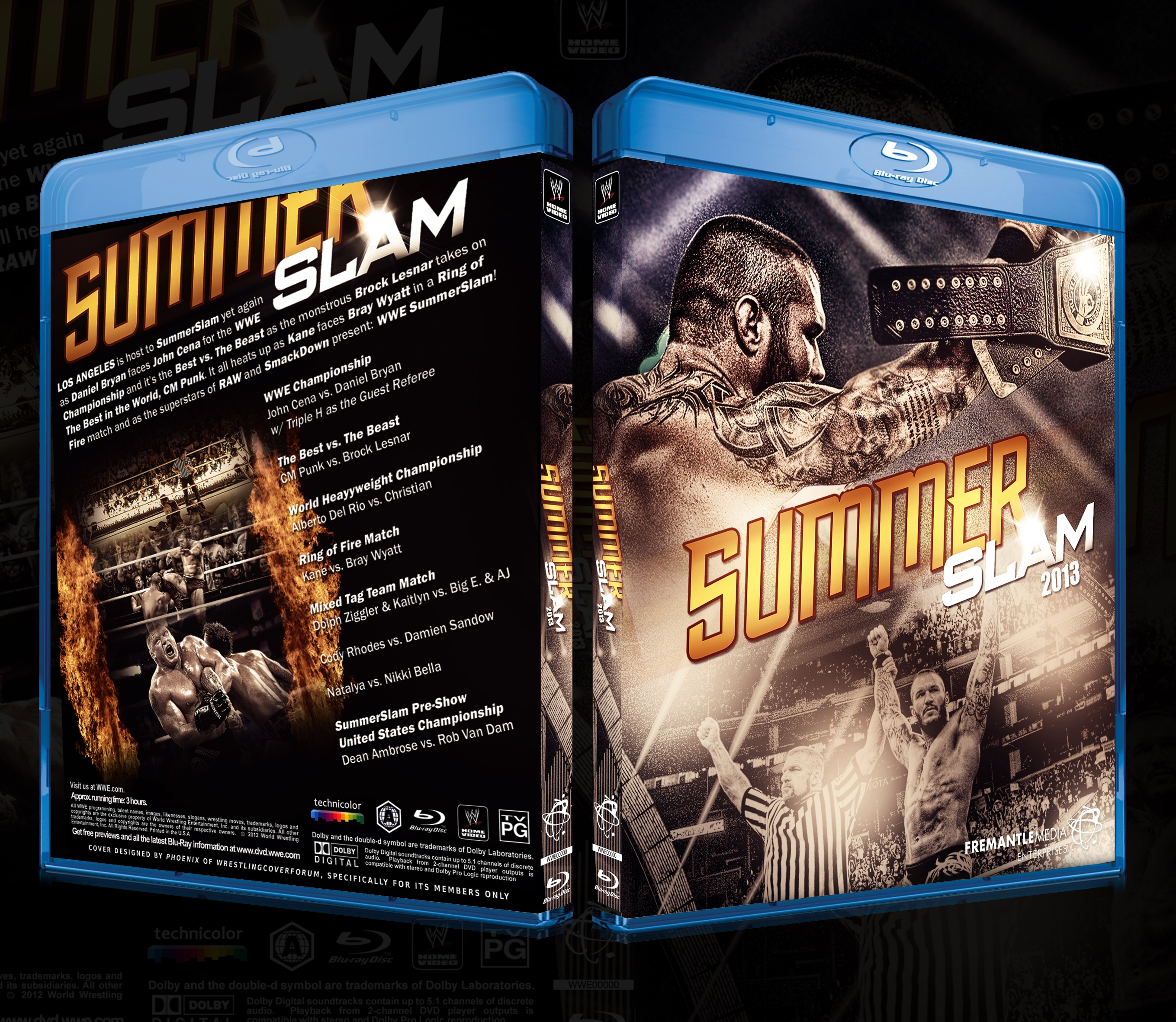 Viewing full size WWE - SummerSlam 2013 box cover by BenBrownDesign