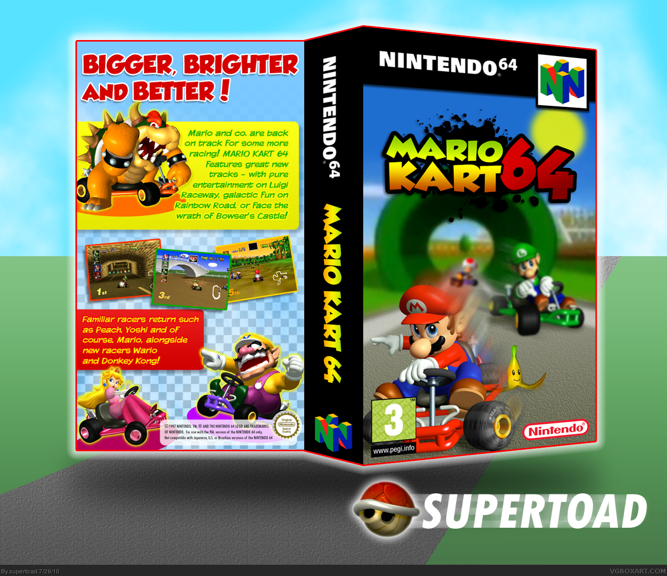 Viewing Full Size Mario Kart 64 Box Cover