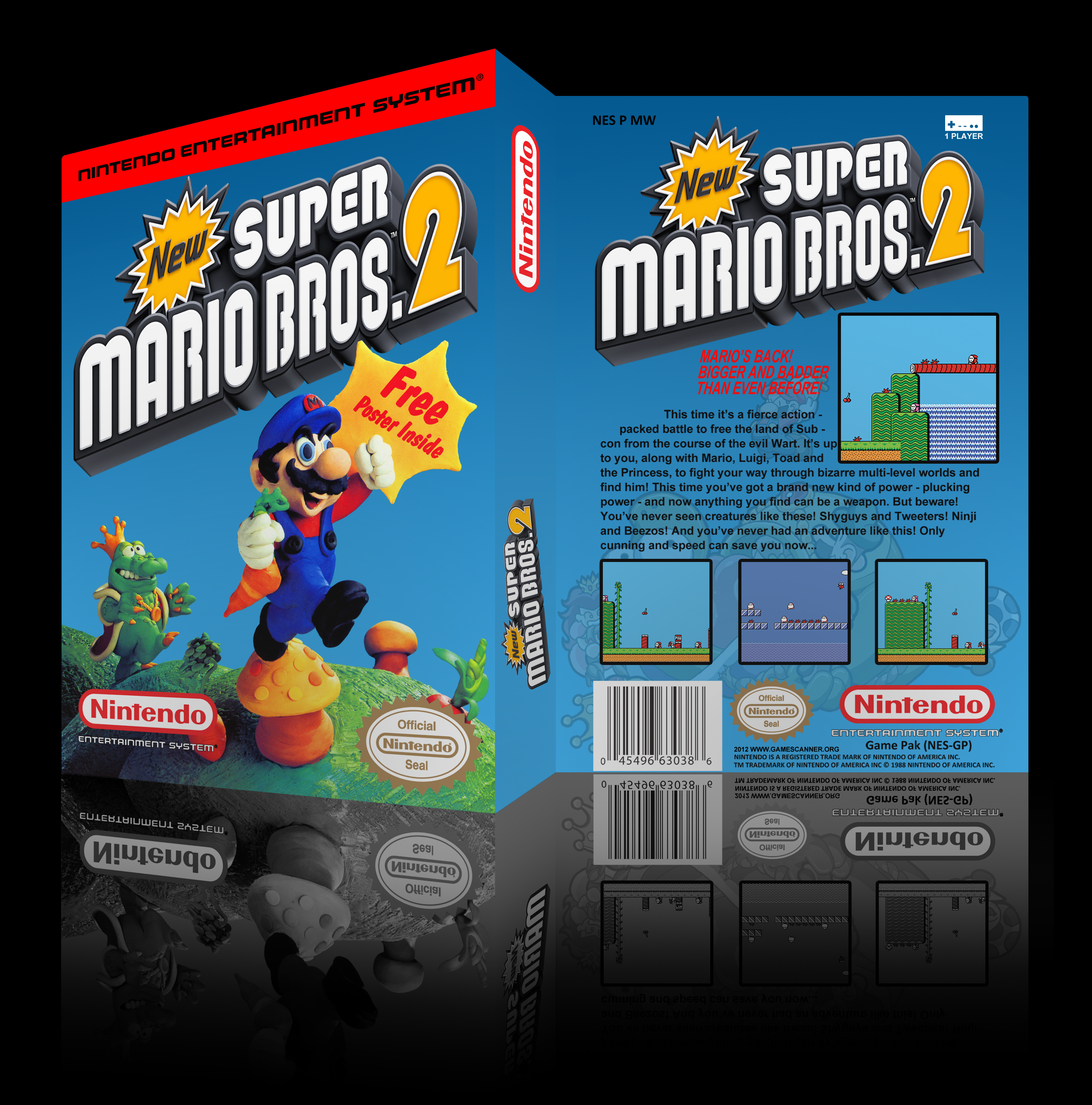 super mario bros 2 nes box art cover by. Black Bedroom Furniture Sets. Home Design Ideas